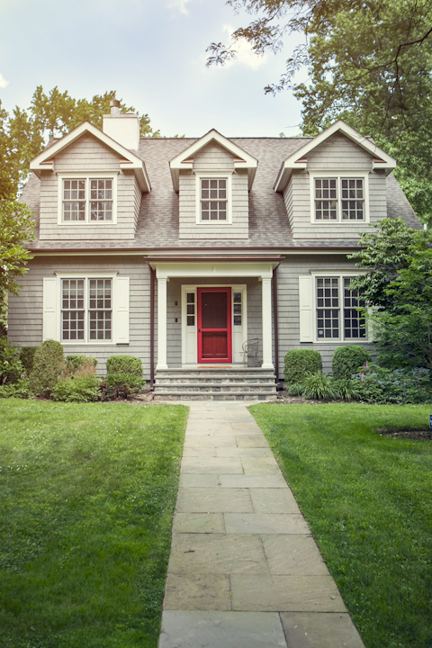 Grey Nantucket-style Colonial home, Larchmont, New York