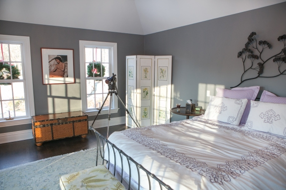 Grey Whale Master Bedroom: Color allows for fanciful play of sunlight and shadows--