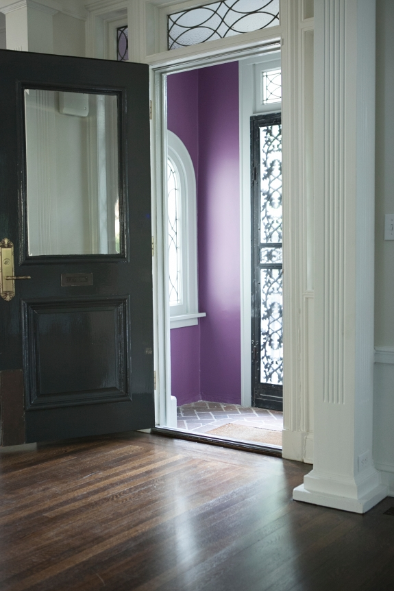 Aubergine walls in Entry Foyer await all comers . . . .