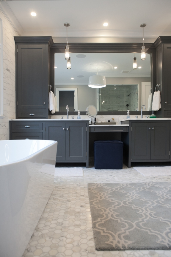 "Dark Master Bath cabinetry-- cabinets become ""weighty"" and noteworthy in the space."