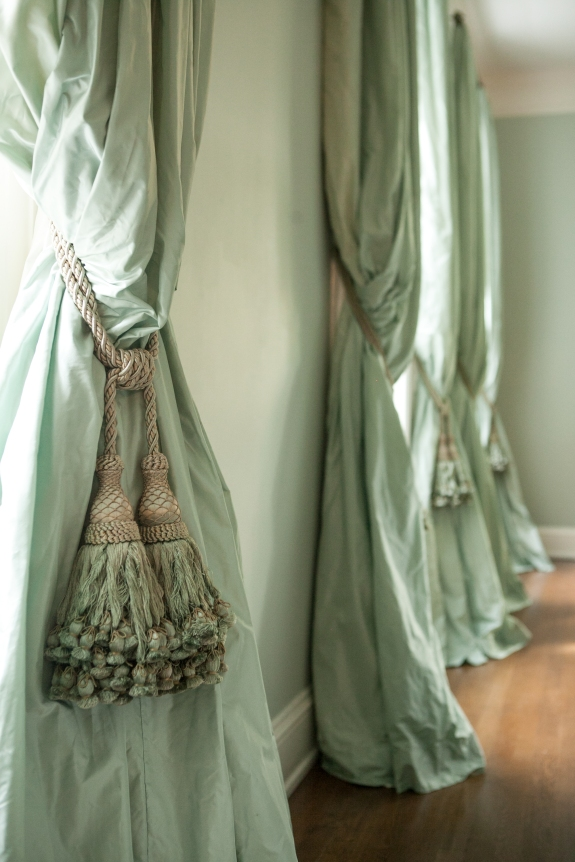 Luscious Green Silk, luxurious tassel tiebacks.