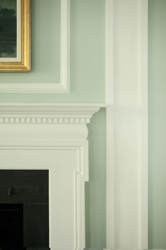 Soothing Color Scheme: Fireplace Detail.