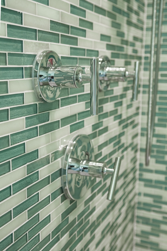 Glass Mosaic and Fixture Detail, Hartsdale Bath Remodel.