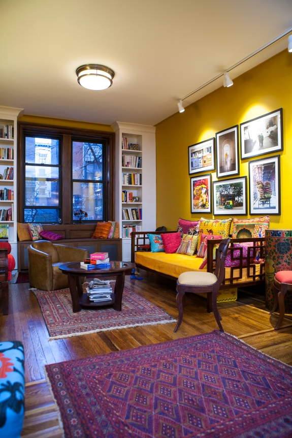 Living Room imbued with colors of India-- personal, warm, inviting.